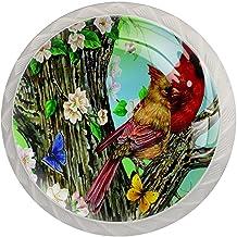 Lade knop Pull handvat 4 stuks Crystal Glass Cabinet lade trekt kast knopen,bloemen vogels vlinders bij olieverfschilderij...