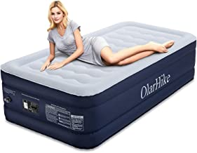 OlarHike Twin Air Built-in Pump, Puncture Proof Blow up Inflatable Mattress with Comfort Flocked, Raised 18'' High Airbed for Guests Camping Travel, 78x40x18inches, Ocean Blue