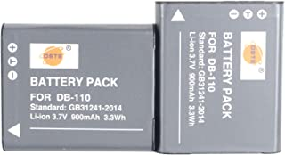 DSTE Replacement for 2X DB-110 Li-ion Battery Compatible Ricoh GR III Compatible Ricoh WG-6 Compatible Ricoh G900 Compatible Ricoh G900SE Camera as BJ-11