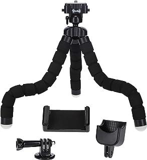 Rollei Monkey Pod Set   Mini Stativ mit flexiblen Beinen inkl. Kugelkopf, Smartphone  , DJI Osmo Pocket   und Actioncam Halterung, schwarz 27cm hoch