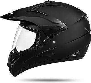 ATO Moto 801 GS War Matt Größe: M 57-58cm Enduro Helm mit Visier Moped Quad ATV Motocross Motorradhelm ECE 2205