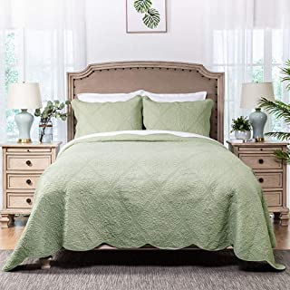 """Elegant Life All-Season Cotton Collection Martha Reversible Allover Trapunto Quilting Coverlet Bedding Quilt, Twin Size, 68"""" x 90"""", Sage Color"""