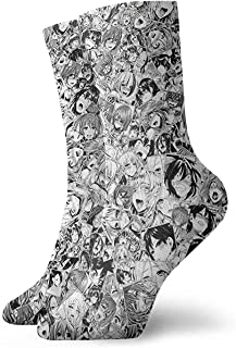Calcetines cortos Ahegao O-Face Casual Crew Socks,Athletic Sports Dress Socks,High Ankle Socks