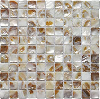 """Sponsored Ad - Art3d Decorative Mosaic Tiles 12"""" X 12"""" Colorful River Bed Nature Pearl Shell Mosaic Backsplashes, 1""""x1"""" Ch..."""