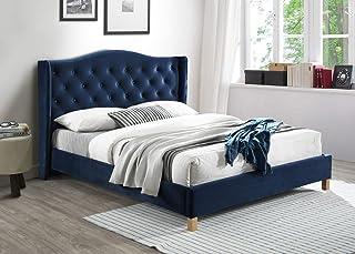 The Oana Lit capitonné en velours | Tête de lit rembourrée | Lit avec support de matelas en bois | Assemblage facile, bleu...