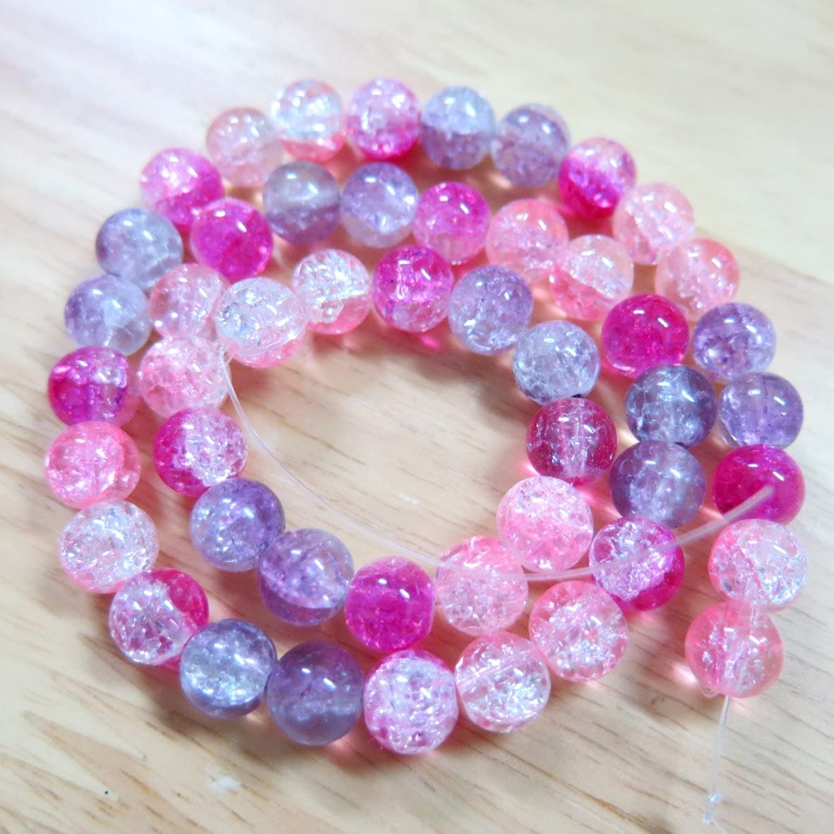 BSI - Mix Color 2-Tone Crackle Lampwork Glass - Loose Beads (50p