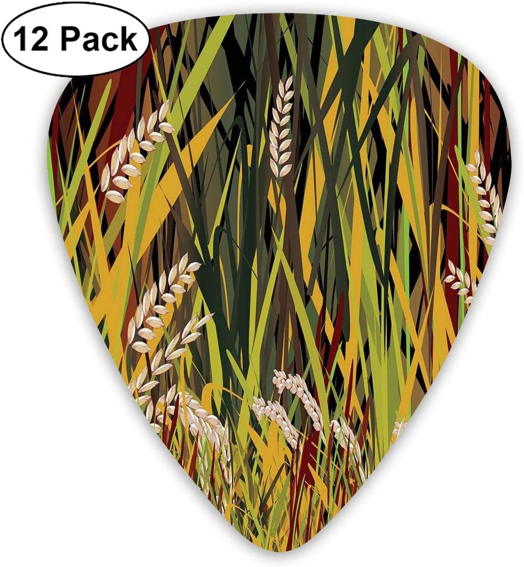 Guitar Picks12pcs Plectrum (0.46mm-0.96mm), Reeds Dried Leaves Wheat River Wild Plant Forest Farm Country Life Art Print Image,For Your Guitar or Ukulele