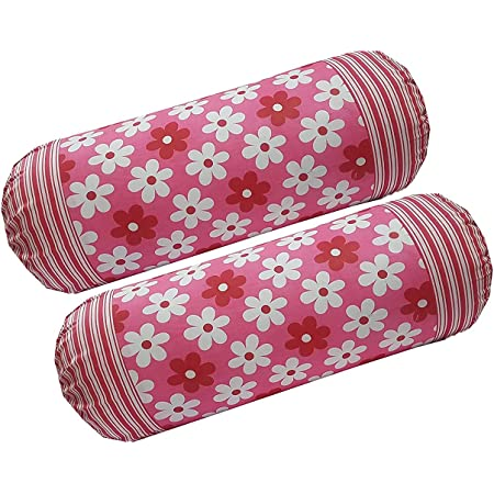 HSR Collection Cotton 144TC Printed Bolster Cover - Set of 2 Piece, Red