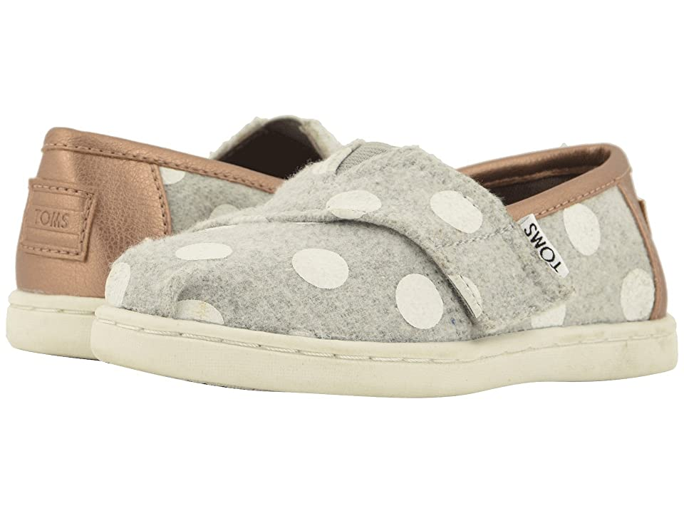TOMS Kids Alpargata (Infant/Toddler/Little Kid) (Drizzle Grey Felt/Polka Dots) Girl