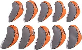 MUXSAM 1 Set 10 Pieces Golf Irons Covers Neoprene 12.6cm x 6.3cm-Gray and Orange