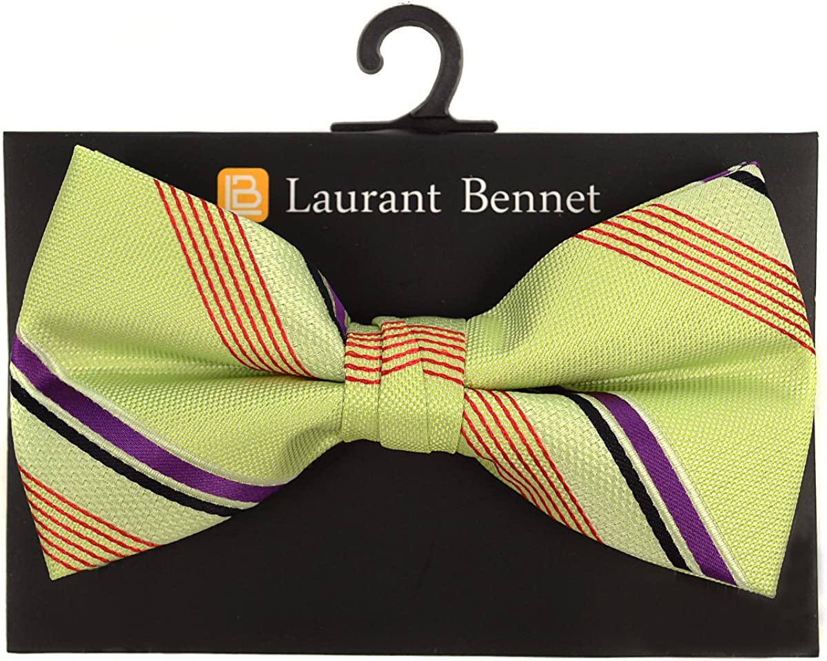 Men's Poly Woven Multi Color Striped Banded Bow Tie