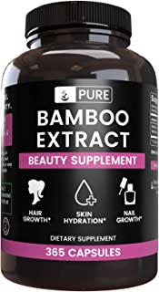 Natural Source Bamboo Extract, 365 Capsules, 6 Month Supply, No Stearate or Rice Fillers, 70% Silica, Gluten-Free, Non-GMO...