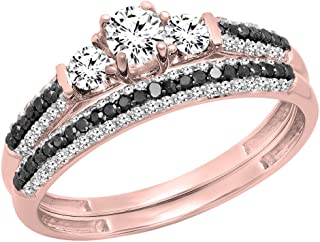 10K Gold White Sapphire, Black & White Diamond 3 Stone Bridal Engagement Ring Set