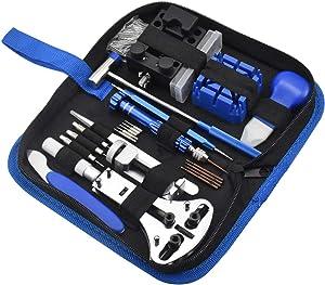 Chstarina 185Pcs Kit de Réparation de Montre, Ensemble d'outils de Barre de Ressort Professionnel, d'outils de Broche de Lien de Bande de Montre avec étui de Transpor pour Débutants Professionnels