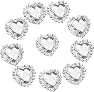 Cristal Strass Amor Coração Botão Decoração Faça Você Mesmo 20x25mm 10pcs