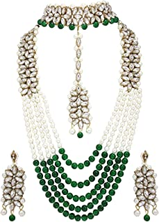 Indian Fashion Bridal Wedding Pearl 4 pc Combo Jewelry Gold Necklace Earring Set