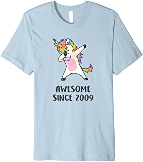 Cute Unicorn Shirt Awesome Since 2009 10th Birthday Gifts