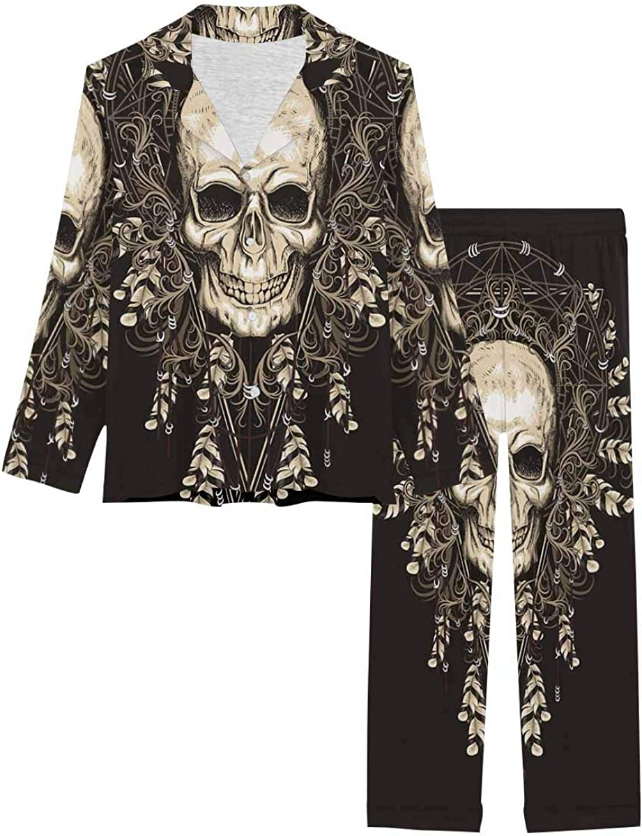 InterestPrint Long Sleeve All items free shipping Sleepwear for Collar Notch Max 81% OFF Loungewear