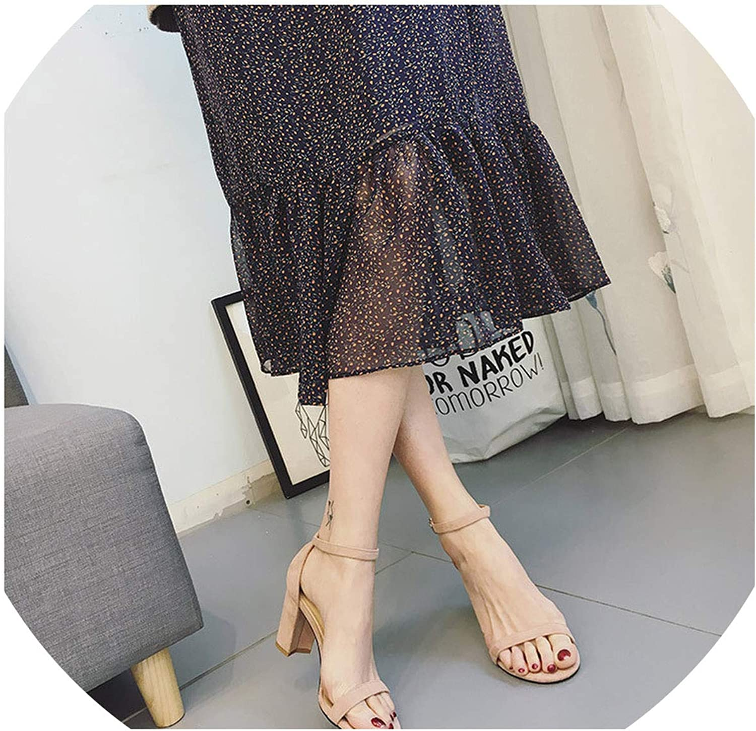 Chunky Heel Women Ankle Strap Gladiator Sandals Women's Summer shoes Fashion Female Sandilas Cover Heel Flock Party shoes M673