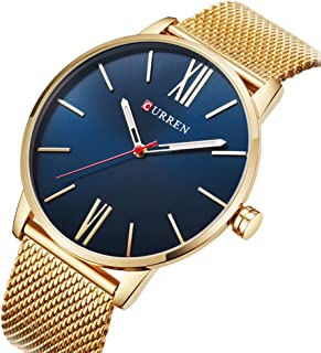 Curren Men Watches Top Brand Ultra thin Dial Luxury Quartz Men Watch Waterproof Casual Sport (GOLD BLUE)