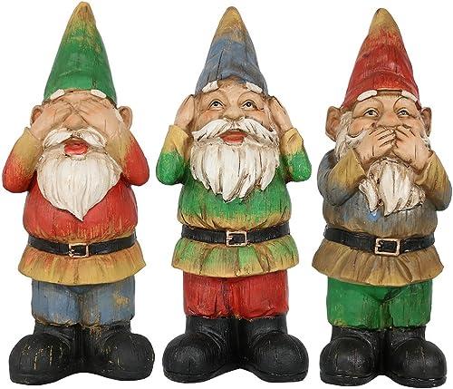 Sunnydaze Three Wise Garden Gnomes - Hear, Speak, See No Evil Set - Outdoor Lawn Statues, 12 Inch Tall Each