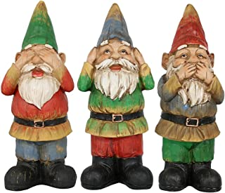 Sponsored Ad - Sunnydaze Three Wise Garden Gnomes - Hear, Speak, See No Evil Set - Outdoor Lawn Statues, 12 Inch Tall Each