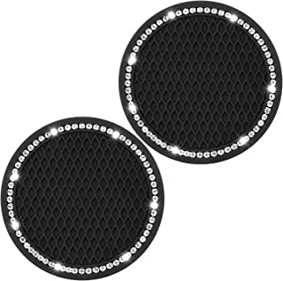 2PCS Car Coasters, Bling Car Cup Coaster, Car Cup Holder Coasters, 2.75 inch Silicone Anti Slip Crystal Rhinestone Car Coaster, Suitable for Most Car Interior, Cute Car Coasters for Women