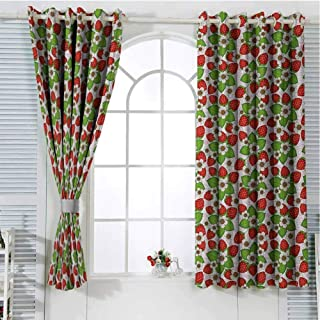 Gloria Johnson FloralcurtainsGrommet Window CurtainStrawberries with Flowers and Leaves Summer Season Themed Eating Foodwindow curtainsVermilion Green Pink96 x 72 inch