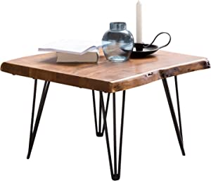 FineBuy Design Couch Table Mailo Solid Wood Table Top Tree Edge 56 x 38 x 51 cm Coffee Table Sheesham Wood Table with Metal Legs in Rustic Country Style