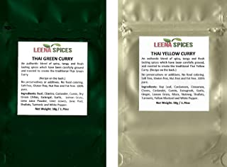 LEENA SPICES – Thai Seasoning Packets - Green And Yellow Curry Powder Spice - Gluten Free Blend – No Salt Or Color Mix – With Recipe - Enjoy Quality Thai Food