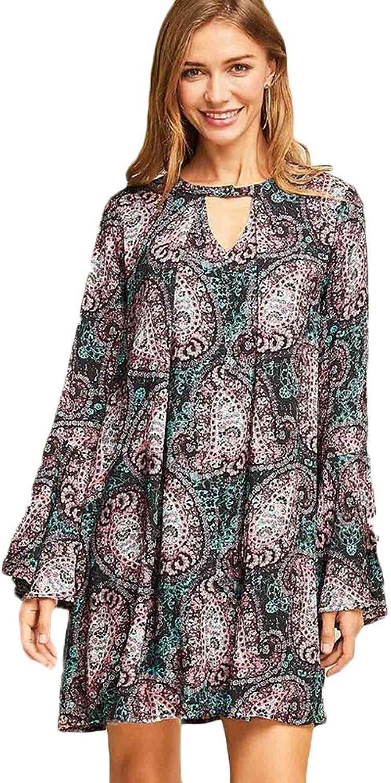 Entro Women's Paisley Print Shift Dress  Black Multi