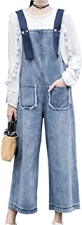 StJoyce Women's Elegant Cowboy Fit Denim High Waist Jumpsuits Wide Legs Pockets Rompers Overalls Trousers
