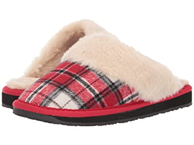 Minnetonka Holiday Scuff (Red Plaid) Women