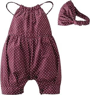 2PCS Baby Girls Dots Romper+Headband Clothes Outfits Set