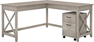 Bush Furniture KWS013WG Key West 60W L Shaped Desk with Mobile File Cabinet in Washed Gray