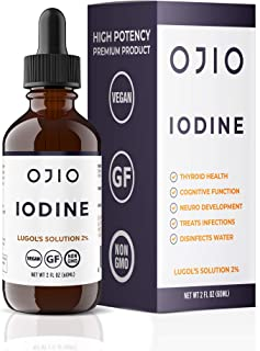 Ojio Iodine Lugol's Solution - Іоdіnе Supplement for Thyroid Support – High Potency Iodine Drops with Superior Absorption ...