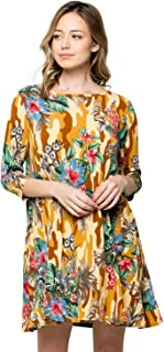 Women's 3/4 Sleeve Print Side Pocket A-Line Tunic Dress