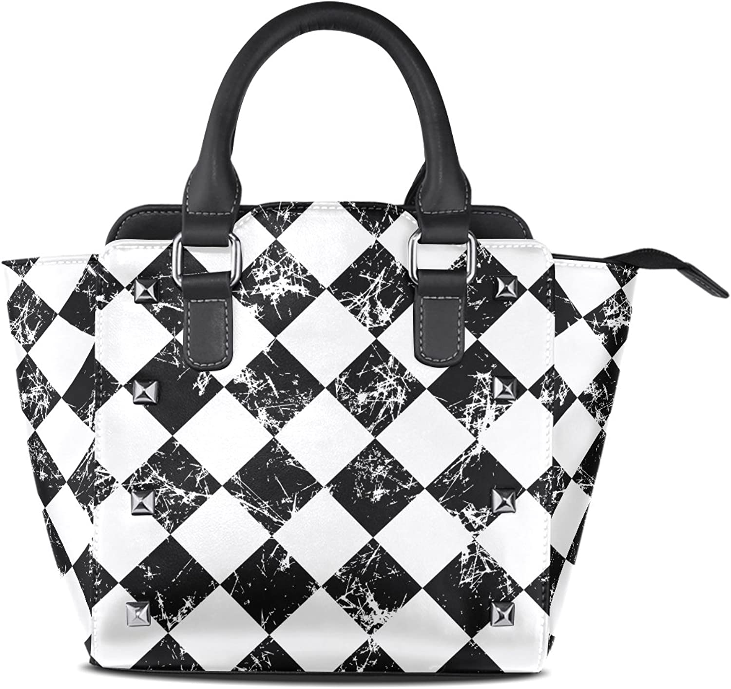 Sunlome Grunge Black White Checked Graphic Print Handbags Women's PU Leather Top-Handle Shoulder Bags