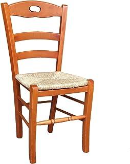 OKAFFAREFATTO MADDALONI Silla de madera maciza con asiento de paja de color cerezo, modelo Lory con reposapiés redondeado, ya montado