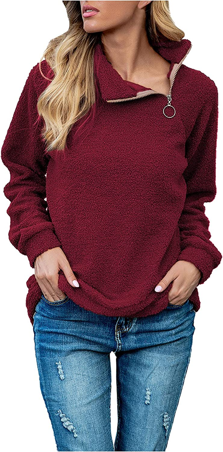 NRUTUP Discount mail order Women's Sweatshirts Max 64% OFF Long Sleeve Cowl Neck Pullover Zipper