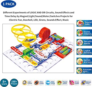 Cool Experiments of Electronics Circuits Discovery Kit –Imitating Sound/Automatic Light/DC Motor/Alarm activated by Voice/Light/Water/Touch/Magnet Over 188+ Electronics Circuit Projects (Ages: 8+)