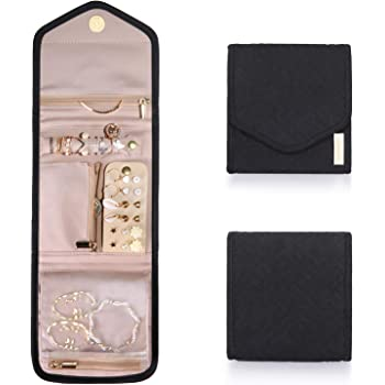 BAGSMART Travel Jewelry Organizer Case Foldable Jewelry Roll for Journey-Rings, Necklaces, Earrings, Bracelets, Black Mini