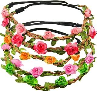 Shells 5PCS Multicolor Daisy Bohemian Flower Headband Crown Hair Wreath Bridal Headpiece with Adjustable Elastic Ribbon Orange