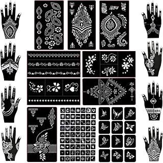 Koogel 18 Sheets Henna Tattoo Stencil Kit, 97 Pcs Temporary Glitter Airbrush Tattoo Stencils Arabian Tattoo Stickers for F...