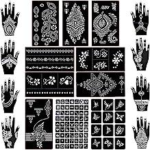 Koogel 18 Sheets Henna Tattoo Stencil Kit,97pcs Temporary Glitter Airbrush Tattoo Stencils Arabian Tattoo Stickers for Face Paint Body Art