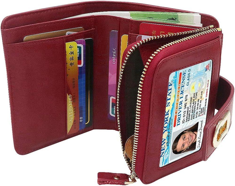 Waccet portafogli porta carte credito donna con 6 slot con protezione anticlonazione in pelle Wine Red