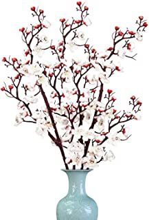 Martine Mall 2 Pack Plum Blossom Artificial Flowers Fake Plum Branches Silk Simulation Flower for Table Accessories Party ...