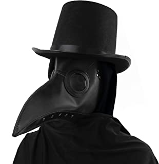Medieval Doctor Plague Mask - Black Faux Leather Bird Death Doctors Mask Costume Accessory