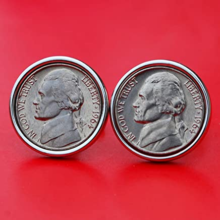 A Pair of US 1964 Jefferson Nickel 5 Cent BU Uncirculated Coin Silver Plated Cufflinks NEW