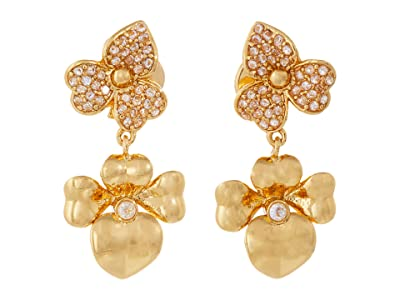 Kate Spade New York Precious Pansy Pave Drop Earrings (Clear/Gold) Earring
